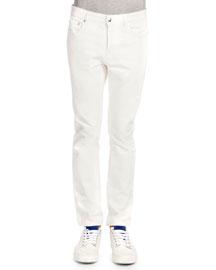 Five-Pocket Slim Jeans, White