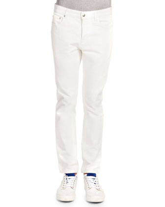 Five-Pocket Slim Jeans, White