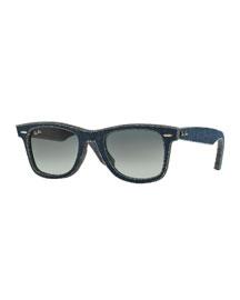 Men's Denim Wayfarer Sunglasses, Dark Blue