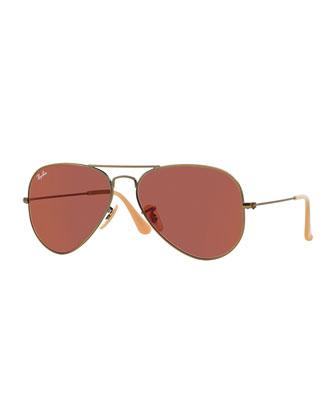 Aviator Mirror Sunglasses, Red