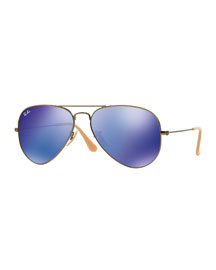 Aviator Mirror Sunglasses, Blue