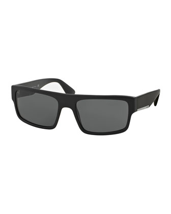 Rectangular Plastic Sunglasses, Matte Black