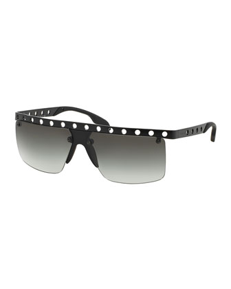 Perforated Half-Rim Sunglasses, Matte Black