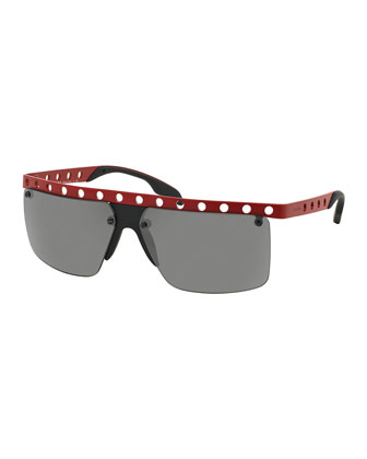 Perforated Half-Rim Sunglasses, Matte Red
