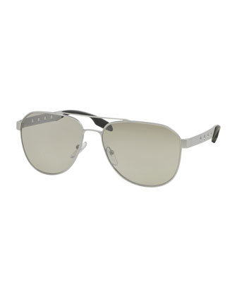 Perforated Aviator Sunglasses, Silver
