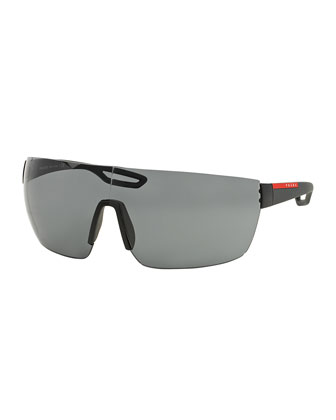 Injected Rubber Shield Sunglasses, Black
