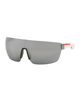 Injected Rubber Shield Sunglasses, White