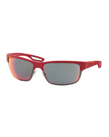 Half-Rim Rubber Sport Sunglasses, Red