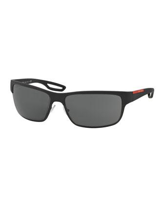 Half-Rim Rubber Sport Sunglasses, Black