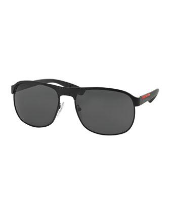 Metal-Rubber Modified Aviator Sunglasses, Black