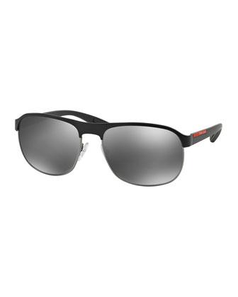Metal-Rubber Modified Aviator Sunglasses, Black/Silver