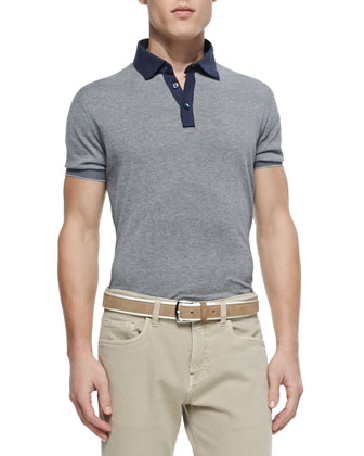 Short-Sleeve Striped Polo, Tan