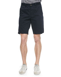 Flat-Front Cotton Shorts, Navy