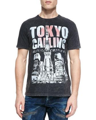 Tokyo Calling Graphic Tee, Black