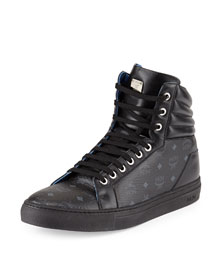 Monogrammed High-Top Sneaker, Black
