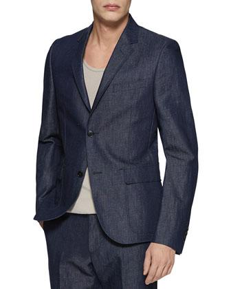 Dylan 60's Cotton/Linen Denim Jacket, Blue