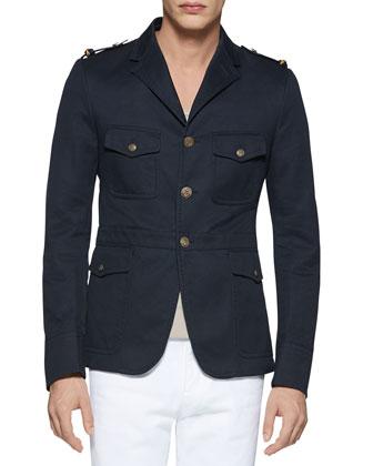 Washed Cotton Jacket, Navy