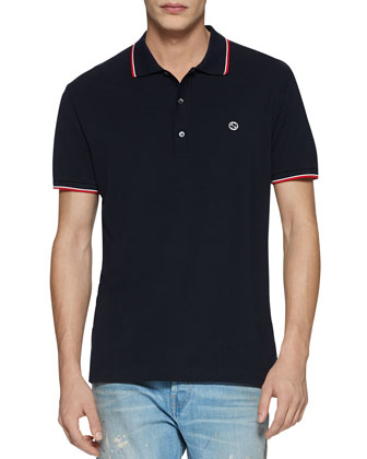Cotton Piquet Polo Shirt with Web Detail, Navy