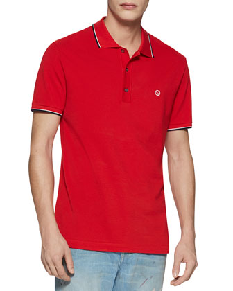 Cotton Piquet Polo Shirt with Web Detail, Red