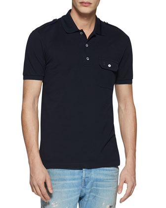 Military Cotton-Stretch Polo, Navy