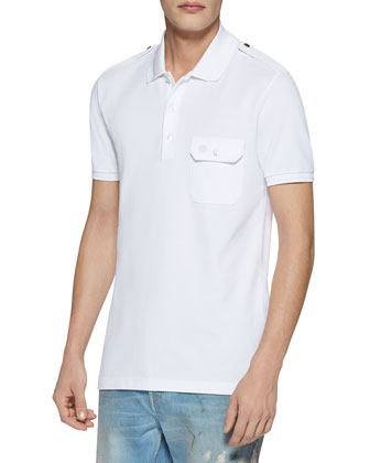 Military Cotton Stretch Polo, White