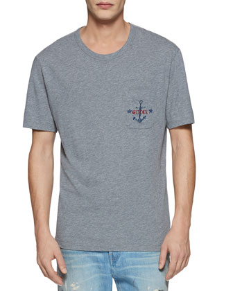 Cotton Jersey Tee with Anchor Print Pocket, Gray