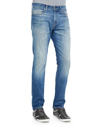 Faded Straight Denim Jeans, Medium Blue