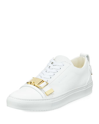 50mm Low-Top Leather Sneaker with Strap, White