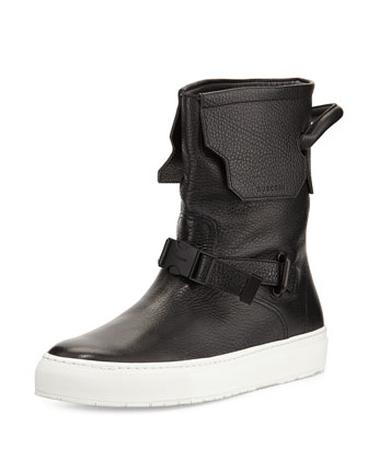 250mm Leather Boot, Black/White