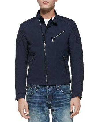 Lightweight Biker Jacket, Navy