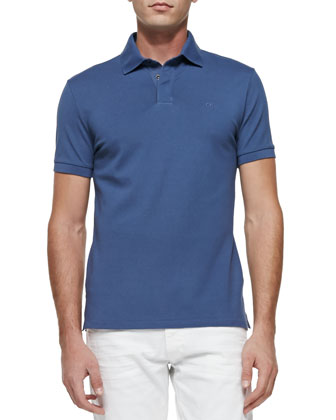 Mesh Knit Polo Shirt, Blue