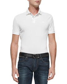Mesh Knit Polo Shirt, White