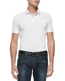 Mesh Knit Polo Shirt, White