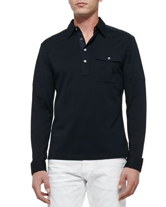 Long-Sleeve Military Polo, Navy
