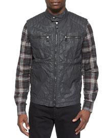 Stanway Coated Linen Vest, Dark Gray