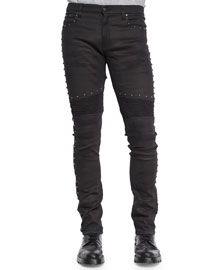 Eastham Studded Slim Stretch Jeans, Black