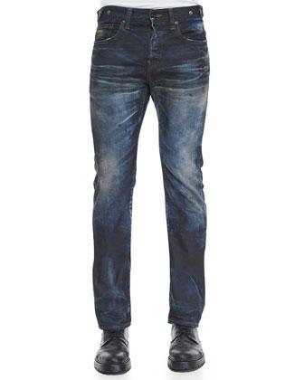 Demon Slim-Fit Dirty Wash Denim Jeans, Blue