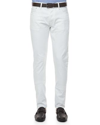 Slim-Fit Denim Jeans, White