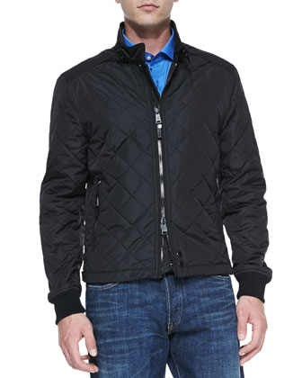 Quilted Two-Way Zip Jacket, Black