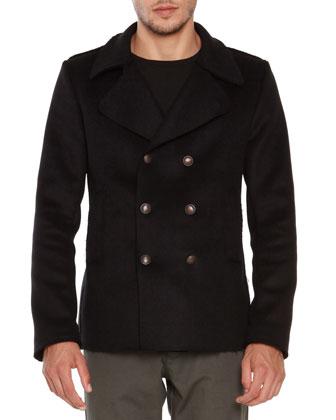 Wool-Blend Pea Coat, Black