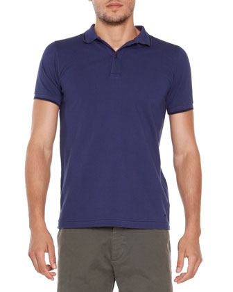 Short-Sleeve Tipped Polo, Blue