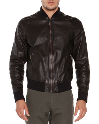 Tumbled Leather Jacket, Black