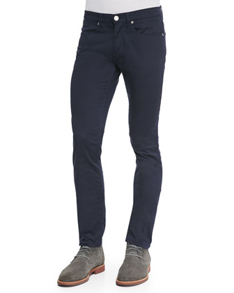 Max in Satin Stretch Pants, Navy