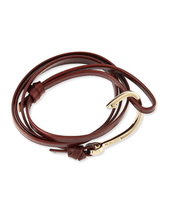 Hook Leather Bracelet, Brandy
