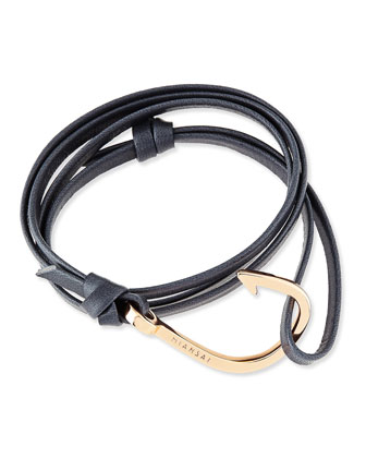 Hook Leather Bracelet, Navy