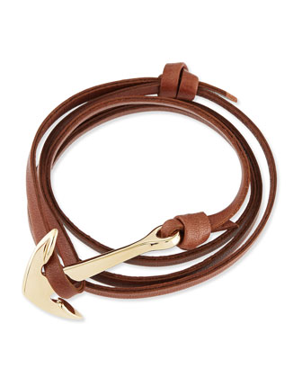 Anchor Leather Bracelet, Brown