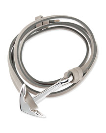 Anchor Leather Bracelet, Gray