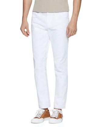 Resinated Cotton Skinny Jean, White
