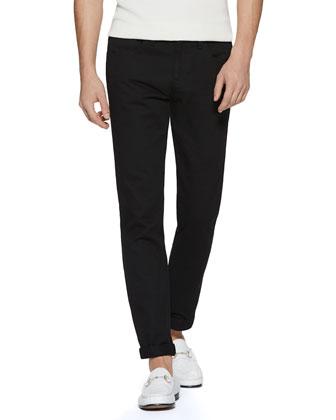 Resinated Cotton Skinny Jean, Black