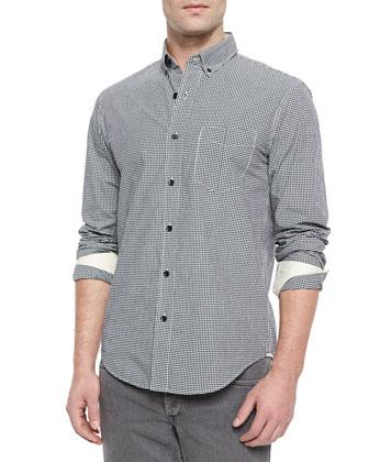 Yokohama Small-Check Woven Shirt, Black/White